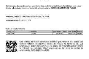 """Vereador divulga """"Certidão do TSE"""" que confirma filiação ao DEM de Lucena"""
